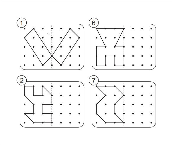 shapes dotted lines reflective symmetry template