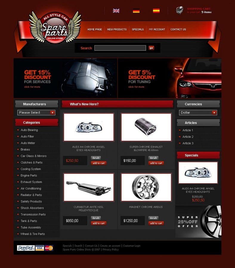 Flat Design Auto Spare Parts Oscommerce Template 139