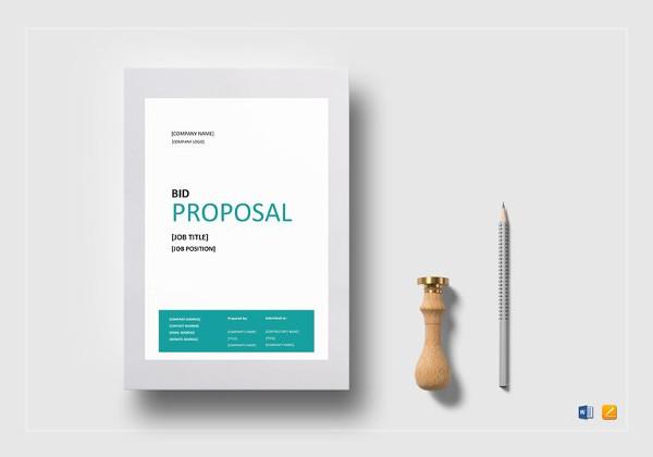 simple bid proposal word template to print
