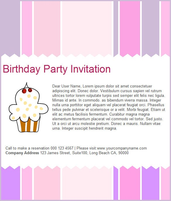 simple birthday party email template free download