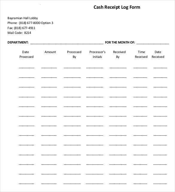 simple official cash receipt log form