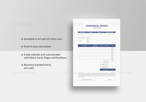 simple commercial invoice template