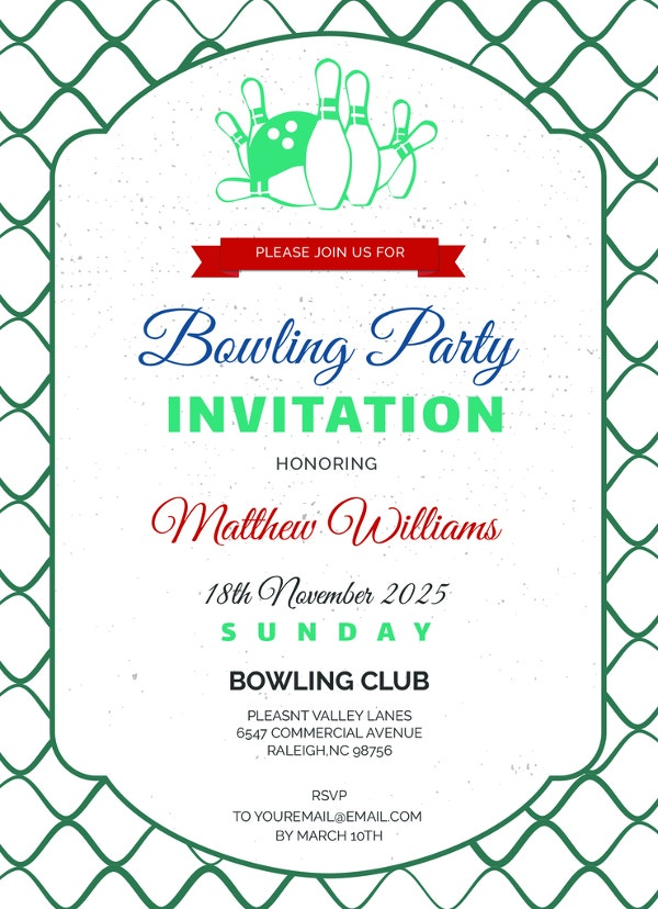 simple corporate bowling invitation template