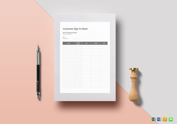 simple customer sign in sheet template