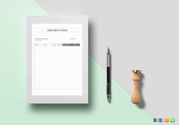 simple daily sign in sheet template