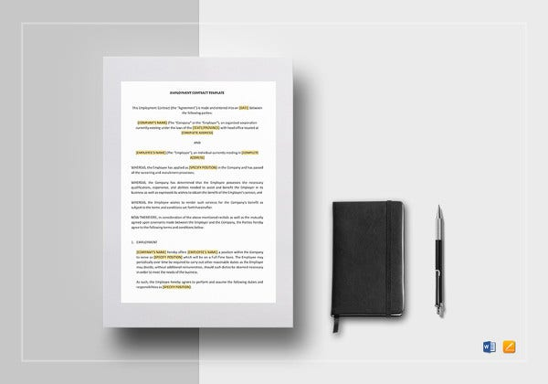 simple employment contract template in ipages