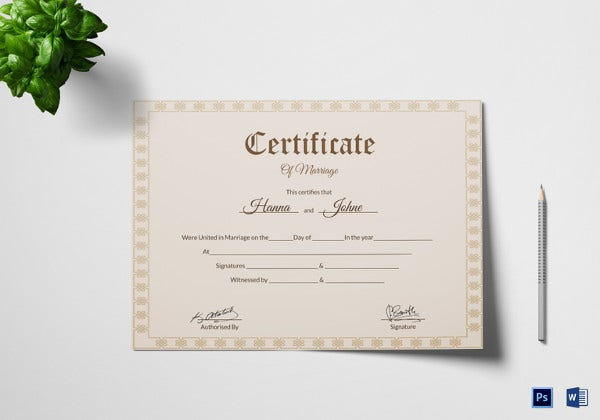 marriage certificate template 12 word pdf psd format download