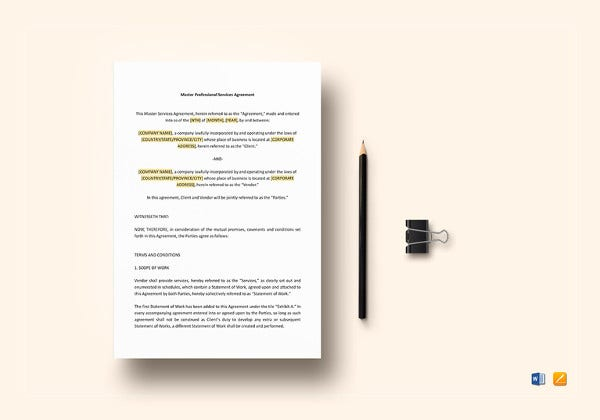 simple master services agreement template
