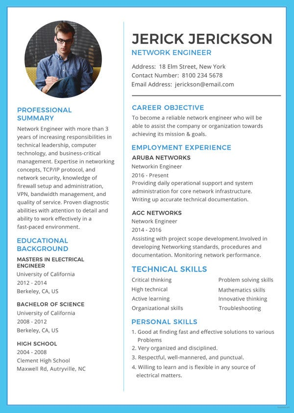 Network Engineer Resume Template - 7+ Free Samples, Examples,PSD ...