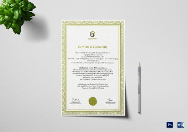 simple professional conformity certificate template