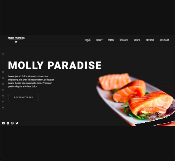 simple restaurant one page html5 template