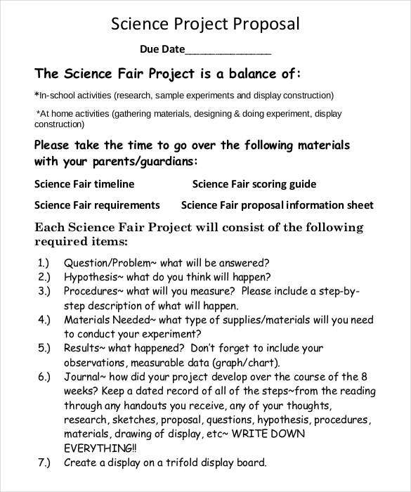 simple science fair project proposal