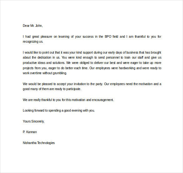 Thank You Letter for Appreciation – 10+ Free Word, Excel, PDF Format ...