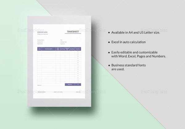 simple timesheet template to print