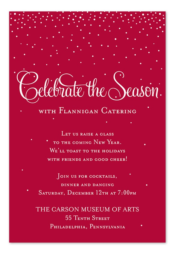 snow falling free holiday invitation template