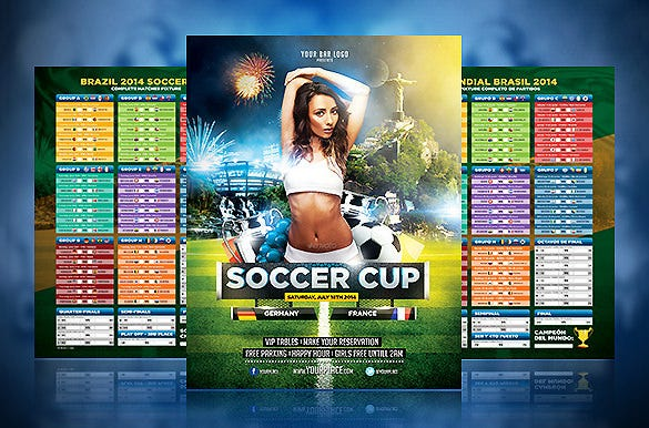 soccer cup photoshop flyer with fixture 6
