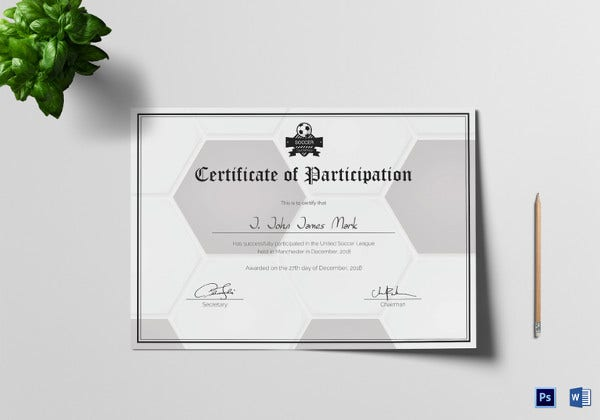 soccer participation certificate template download2