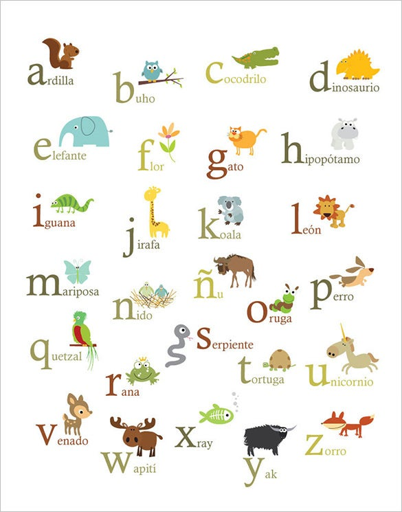 spanish nature themed alphabet letters