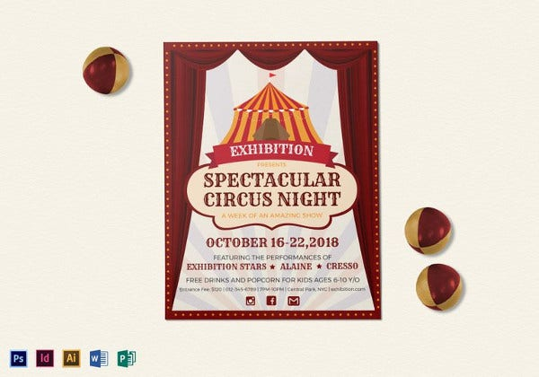 spectacular circus night flyer template