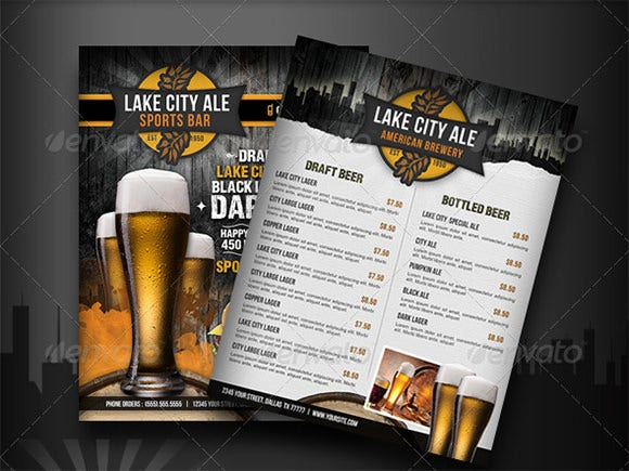 sports bar drinks menu