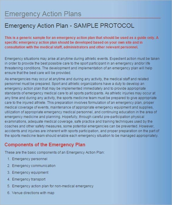 Emergency Action Plan Template 13 Free WordExcel PDF Format – Emergency Action Plan Sample