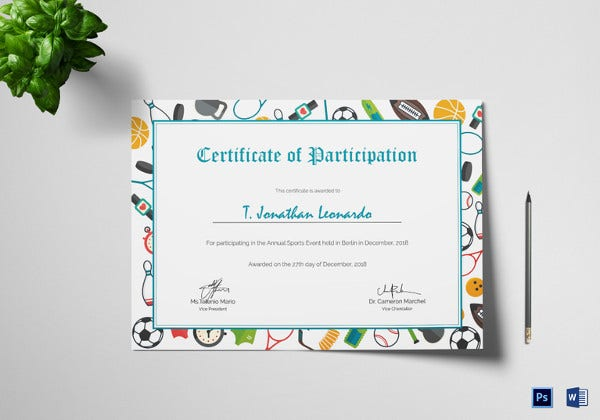 sports participation certificate template2