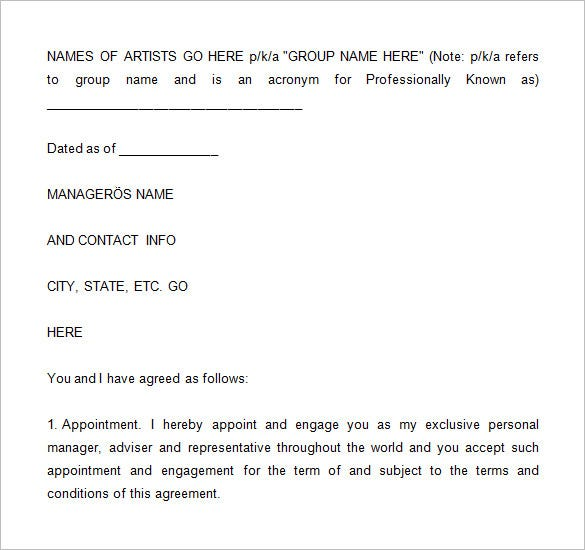 Artist Management Contract Templates Free PDF Word Documents - Talent management contract template