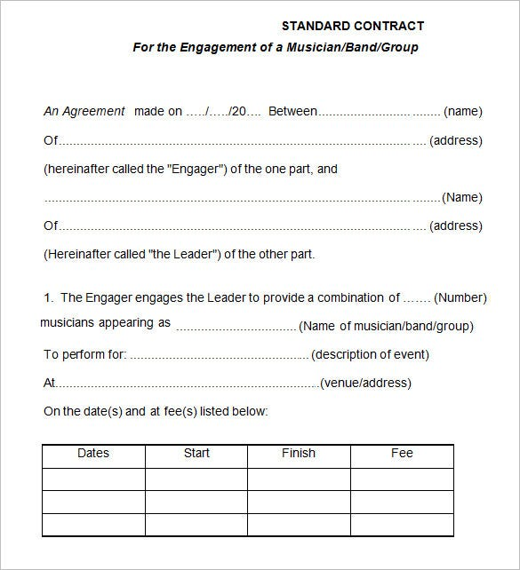 Standard Band Contract Template