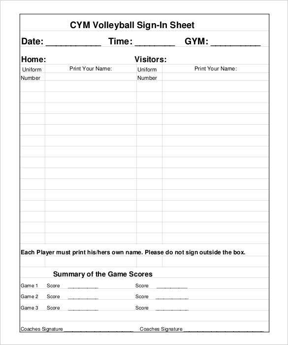 standard gym sign in sheet