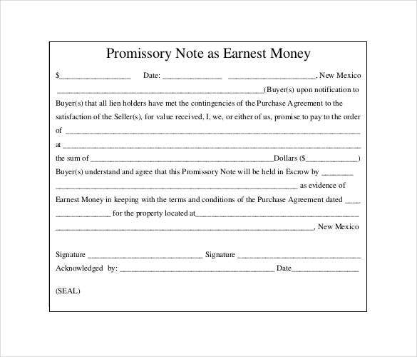 standard promissory note as earnest money