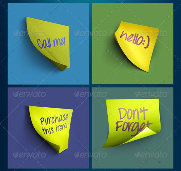 sticky notes psd mock up template 5