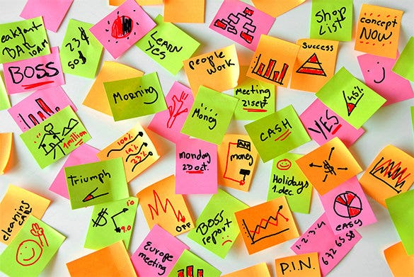 sticky notes with organization work 9