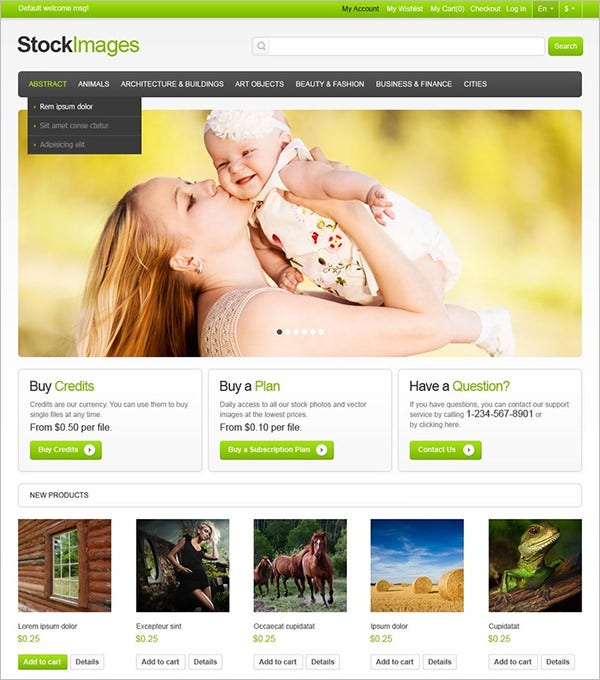 stock images magento theme