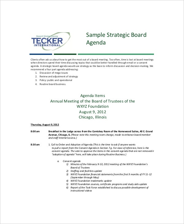 Strategy Meeting Agenda Templates  Free Sample Example Format