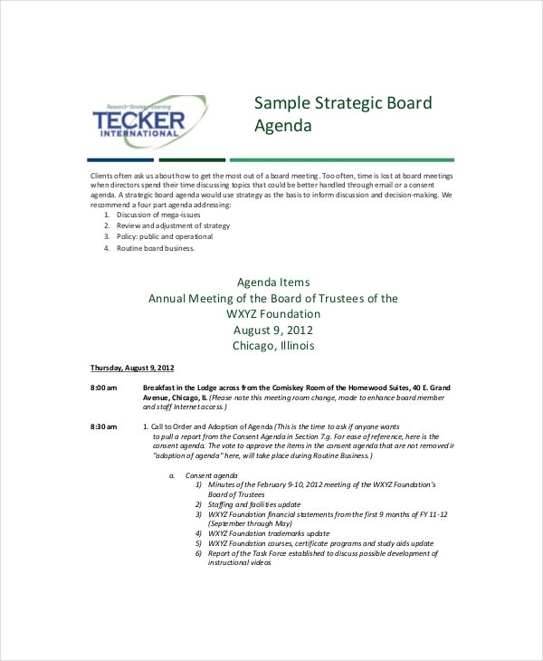 strategy feedback meeting agenda template1