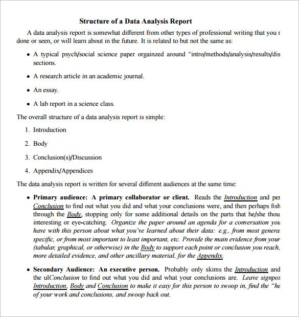 charming structure of a data analysis report template pdf download intended analysis report template word