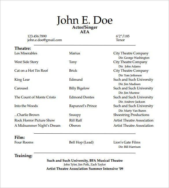 student actor resume template - Resume Format For Actors
