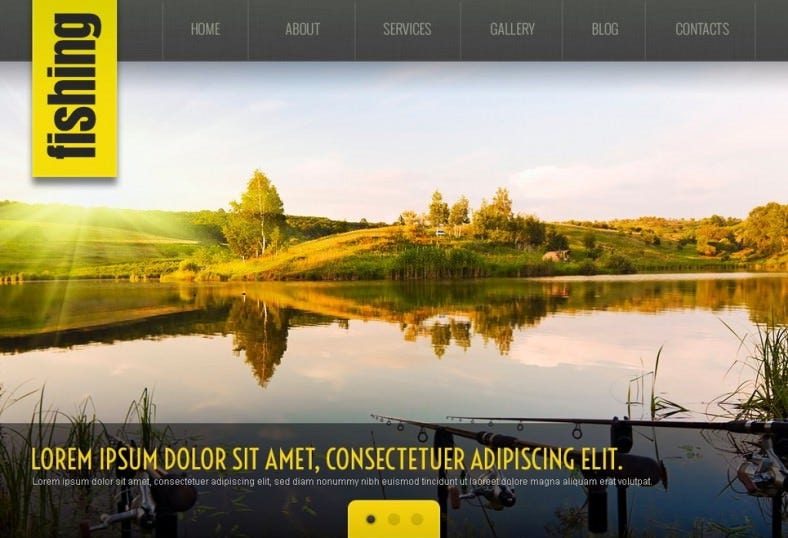 Stylish Black & Yellow Responsive Fishing Wp Theme