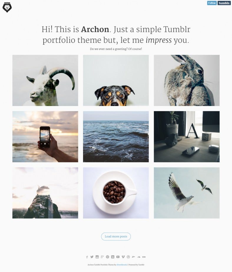 Stylish Tumblr Portfolio Theme