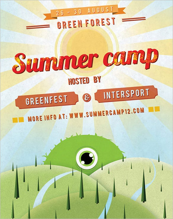 Summer Camp Flyer Template   Free Jpg Psd Esi Indesign