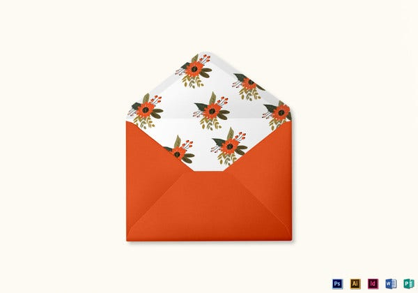 summer floral wedding envelope card template