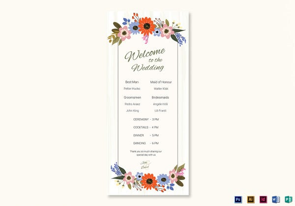 summer floral wedding program card psd template