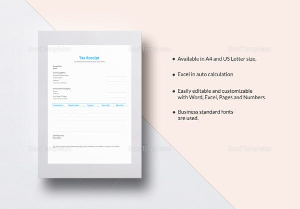 tax receipt template to print