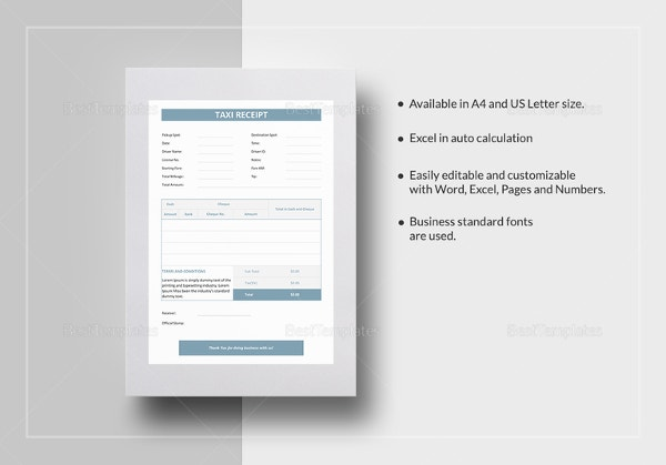 blank taxi receipt template in ipages