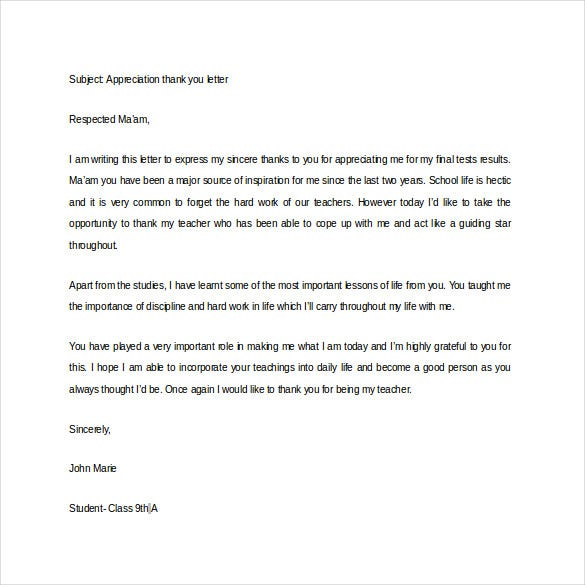 Thank You Letter For Appreciation   Free Word Excel Pdf