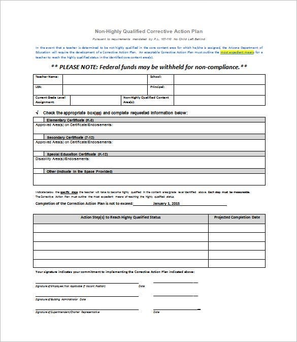 teacher corrective action plan template example