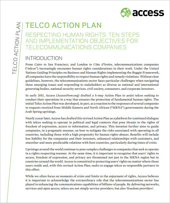 telco action plan for telecommunications