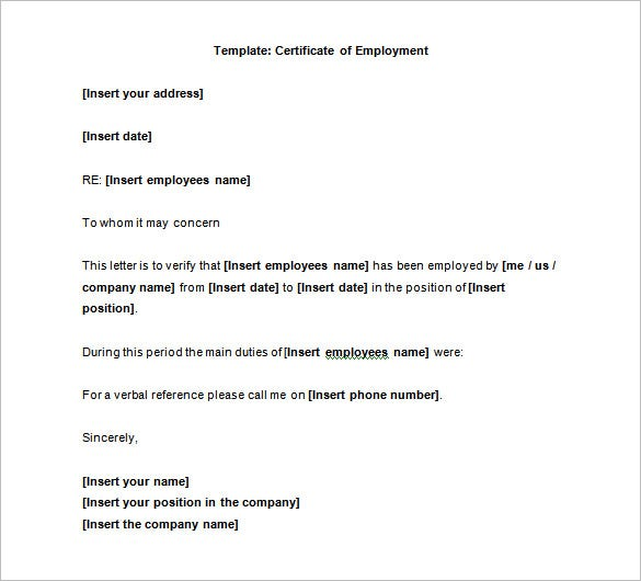 40 employment certificates pdf doc free premium for Certificate of employment template