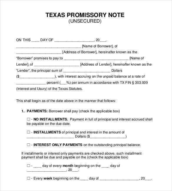 texas-unsecured-promissory-note-form