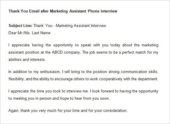 Thank You Email Template After Interview  Free Samples